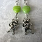 Tibetan Charm & Glass Beads Earrings, Robots, Dalmatian, Schnauzer, Treble Clef