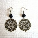 Antique Bronze Tone Lace Filigree Round and Faceted Purple Glass Earrings