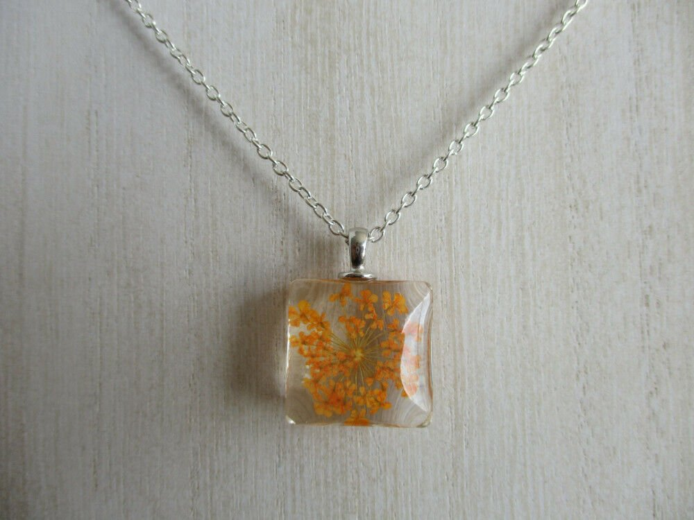 Orange Queen Anne's Lace Real Flower Square Glass Silver Tone Necklace Pendant