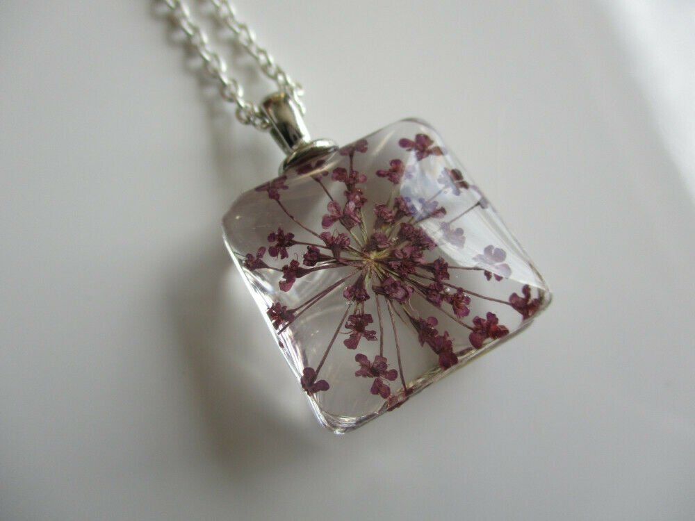 Purple Queen Anne's Lace Real Flower Square Glass Silver Tone Necklace Pendant