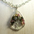 NWOT Colorful Fluorite Chip Tree of Life Silver Tone Chain Necklace Pendant