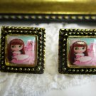 Vintage Stock Brown Hair Girl Blythe Doll Antique Gold Tone Square Stud Earrings