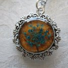 Blue Queen Anne's Lace Real Flower Oval Glass Silver Tone Necklace Pendant