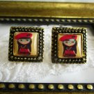 Vintage Stock Red Hat Girl Blythe Doll Antique Gold Tone Square Stud Earrings