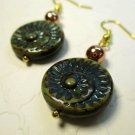 Handmade Dark Moss Green Swirl Glass & Copper Earrings 22K Gold Plated Ear Wires