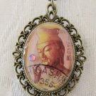 Real Japanese Postage Stamp Pink Buddha Framed Bronze Tone Oval Pendant Necklace