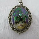 Handmade Cat & Green Queen Anne's Lace Flower on Purple Bronze Pendant Necklace