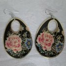 New Pink Asian Peony Flower on Black / Thin Oval Brass Wafer Earrings, Free Ship