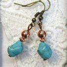 Handmade Tumbled Blue Howlite Turquoise Stone Silver Tone Earrings, Free US Ship