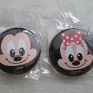 NIP Set of 2 Disney Mickey Mouse & Minnie Mouse Face Pin Back  Buttons Badges