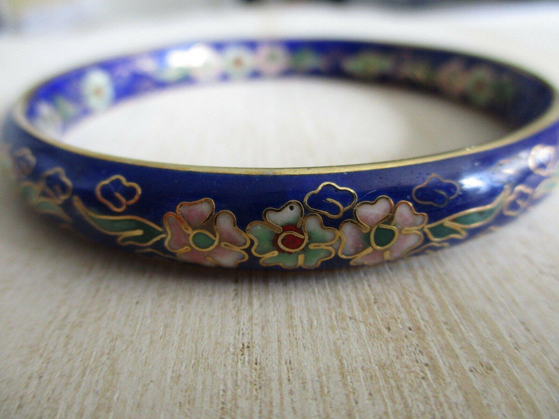 Vintage Cloisonne Bangle Bracelet, Blue or Green, Gold Outlined Floral Design