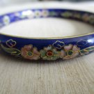 Vintage Cloisonne Bangle Bracelet, Blue or Green, Gold Outlined Floral Design