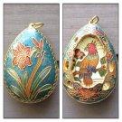 Vintage Reversible Cloisonne Pendant Charm, Lily Flower / Parrot Bird Filigree