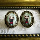 Vintage Post Earrings, Antique Gold / Silver Tone, Costume Jewely Free US Ship!