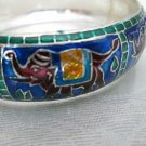 NIP Colorful Cloisonne Bangle Bracelet, Red Elephants on Blue Enameled Metal
