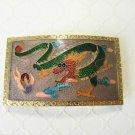 Vintage Cloisonne Dragon Belt Buckle, Blue or Light Purple, Rectangle, Free Ship