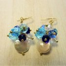 Handmade Freshwater Coin Pearl & Blue / Clear Glass Crystal 14k GP Earrings