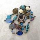 Handmade OOAK Marie Antoinette Gold Tone Pendant, Pink / Blue / Light Blue