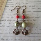 Handmade Red Coral, Czech Glass Orb and Egyptian Scarab Charm Copper Earrings