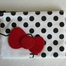 NWT Sanrio HELLO KITTY White / Black Polkadot & Red Ribbon Fabric Zipper Bag