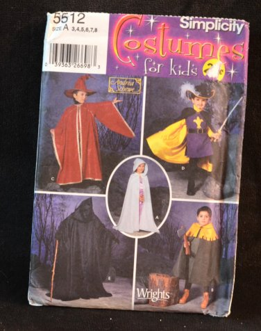 SIMPLICITY PATTERN 5512 Toddler's Costume