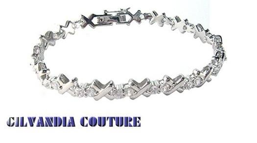 GILVANDIA COUTURE  handcrafted sterling silver BonaFide! Diamond CZ fashion bracelet on sale.