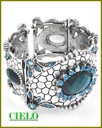 CIELO COUTURE  blue stones & ice rhinestones fashion bracelet on sale.