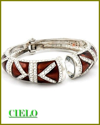 CIELO COUTURE ice rhinestones and chocolate brown epoxy fashion bracelet on sale.