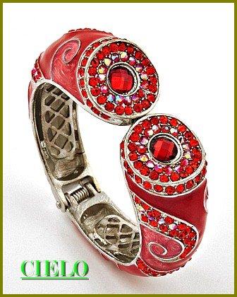 CIELO COUTURE shimmering and lavish Siam rhinestones fashion bracelet on sale.