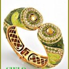CIELO COUTURE shimmering and lavish peridot rhinestones fashion bracelet on sale.