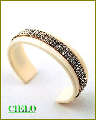 CIELO COUTURE runway couture elaborate ice rhinestones fashion bracelet on sale.