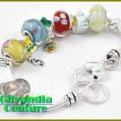 A fashion bracelet that offers silvertone with multi colored glass stones.