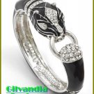 Ladies bracelet showcases clear ice rhinestones with jet black epoxy and animal motif.