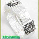 Designer inspired bracelet features antique silver finish with beautiful filigree details.