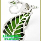 Magnificent fashion bracelet with green epoxy accents and a Rain Forest leaf theme.