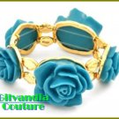 Boutique bracelet with magnificent turquoise flowers and Oro gold cultivated finish.