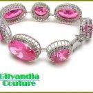 Large BonaFide!® candy pink CZ diamonds fashion bracelet by GILVANDIA COUTURE.