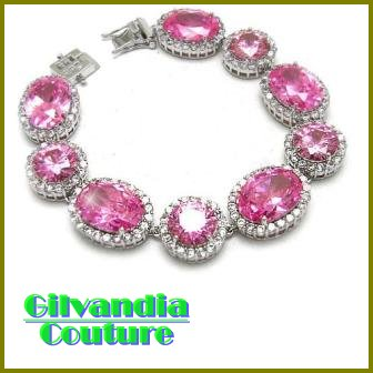 BonaFide!® candy pink CZ diamonds fashion bracelet by GILVANDIA COUTURE on sale now.