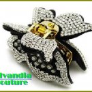 GILVANDIA COUTURE BonaFide!® black and clear ice CZ crystal stones fashion bracelet.