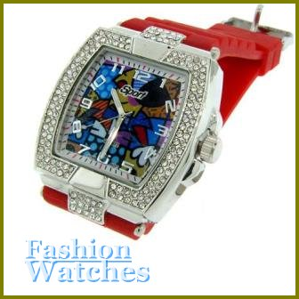 Incredible! 10'' bold fire red rubber strap fashion watch with two bonus gifts.