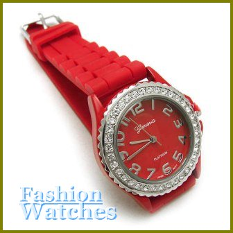 Classic!  Marvelous fire red rubber strap fashion watch with two bonus gifts. Limited Time.