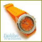 Sensational! Sleek bright orange strap fashion watch with two bonus gifts. Limited Time.