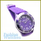 Bold Unisex Styling! Purple rubber strap fashion watch and bonus gifts. Limited Time.