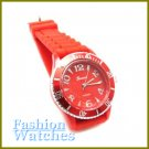 Metro Unisex Looks! Fire red rubber strap fashion watch and bonus gifts. Limited Time.