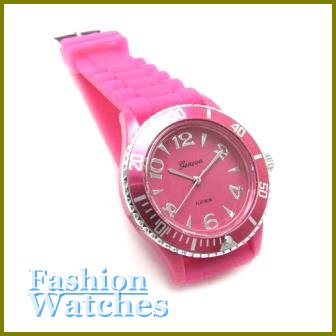 Metro Unisex Looks! Vivid fuchsia rubber strap fashion watch and bonus gifts. Limited Time.