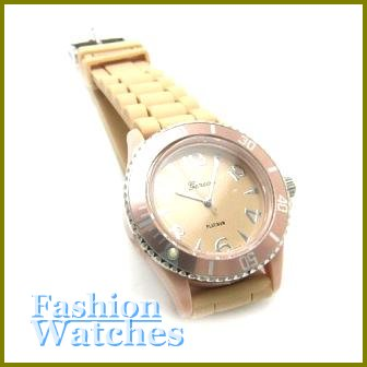 Posh Looks! Sand beige rubber strap fashion watch and bonus gifts. Limited Time.