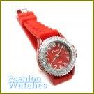 Urban Chic! Bonfire red rubber strap fashion watch with bonus gifts.