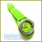 Exquisite Appearance! Leaf green rubber strap fashion watch with bonus gifts.
