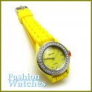 Contemporary! Yellow rubber strap fashion watch with bonus gifts. Metro Unisex.