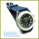 Monochromatic! Navy blue rubber strap fashion watch with bonus gifts. Metro Unisex.